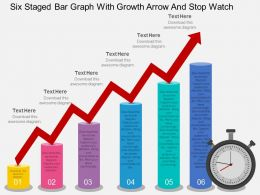 hq Six Staged Bar Graph With Growth Arrow And Stop Watch Flat Powerpoint Design