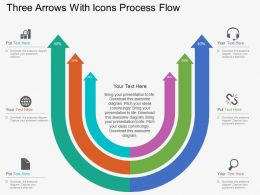 Hq Three Arrows With Icons Process Flow Flat Powerpoint Design