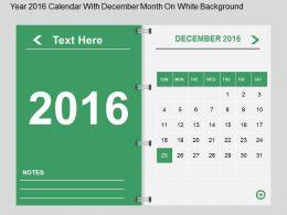 Hq Year 2016 Calendar With December Month On White Background Flat Powerpoint Design