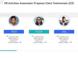 HR Activities Automation Proposal Client Testimonials Ppt Powerpoint Presentation Design