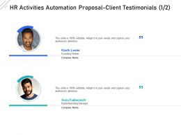 HR Activities Automation Proposal Client Testimonials Teamwork Ppt Powerpoint Slide