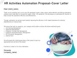 HR Activities Automation Proposal Cover Letter Ppt Powerpoint Outline Example