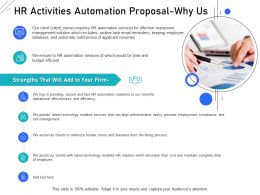 HR Activities Automation Proposal Why Us Ppt Powerpoint Presentation Summary