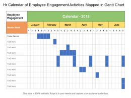 Hr Calendar Of Employee Engagement Activities Mapped In Gantt Chart