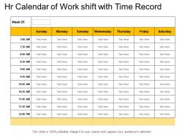 Hr Calendar Of Work Shift With Time Record