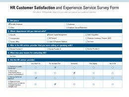 HR Customer Satisfaction And Experience Service Survey Form