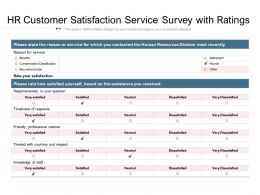 HR Customer Satisfaction Service Survey With Ratings