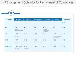 HR Engagement Calendar For Recruitment Of Candidates