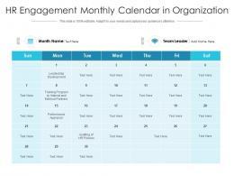 HR Engagement Monthly Calendar In Organization