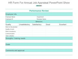 Hr Form For Annual Job Appraisal Powerpoint Show