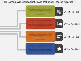 Hr Four Banners With Communication And Technology Process Indication Flat Ppt Design