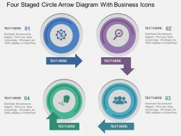 Hr Four Staged Circle Arrow Diagram With Business Icons Flat Powerpoint Design