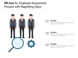 HR Icon For Employee Assessment Process With Magnifying Glass