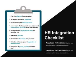 Hr Integration Checklist Powerpoint Presentation Examples
