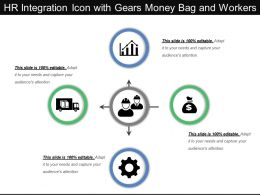 Hr Integration Icon With Gears Money Bag And Workers