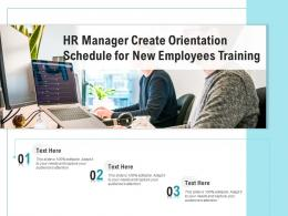 HR Manager Create Orientation Schedule For New Employees Training
