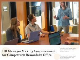 HR Manager Making Announcement For Competition Rewards In Office