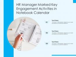 HR Manager Marked Key Engagement Activities In Notebook Calendar