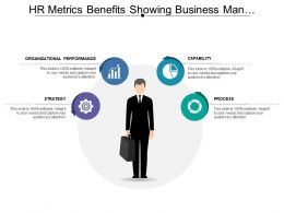 Hr Metrics Benefits Showing Business Man Holding Suitcase And Gear
