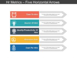 Hr Metrics Five Horizontal Arrows Ppt Slide Templates