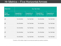 Hr Metrics Five Horizontal Arrows Ppt Slide Themes