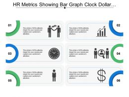 Hr Metrics Showing Bar Graph Clock Dollar And Man Shaking Hands