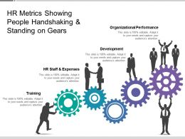 Hr Metrics Showing People Handshaking And Standing On Gears