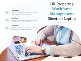 HR Preparing Workforce Management Sheet On Laptop