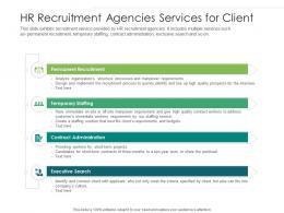 HR Recruitment Agencies Services For Client