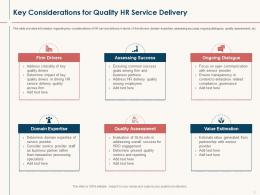 HR Service Delivery Key Considerations For Quality HR Service Delivery Ppt Powerpoint Icon