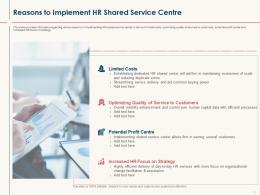 HR Service Delivery Reasons To Implement HR Shared Service Centre Ppt Powerpoint Display
