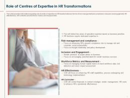 HR Service Delivery Role Of Centres Of Expertise In HR Transformations Ppt Graphic Images