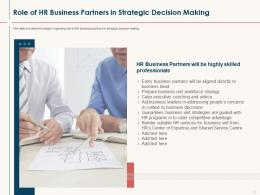 HR Service Delivery Role Of HR Business Partners In Strategic Decision Making Ppt Styles