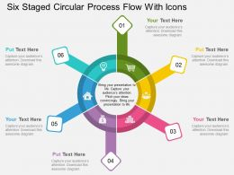 hr Six Staged Circular Process Flow With Icons Flat Powerpoint Design