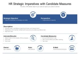 HR Strategic Imperatives With Candidate Measures