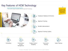 HR Technology Landscape Key Features Of HCM Technology Ppt Powerpoint Presentation Show