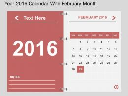 Hr Year 2016 Calendar With February Month Flat Powerpoint Design