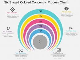 hs Six Staged Colored Concentric Process Chart Flat Powerpoint Design