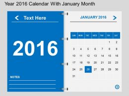 Hs Year 2016 Calendar With January Month Flat Powerpoint Design