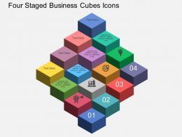 Ht Four Staged Business Cubes Icons Flat Powerpoint Design
