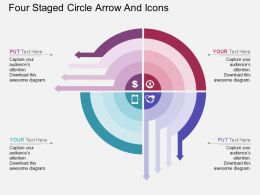 ht Four Staged Circle Arrow And Icons Flat Powerpoint Design