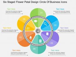 ht Six Staged Flower Petal Design Circle Of Business Icons Flat Powerpoint Design