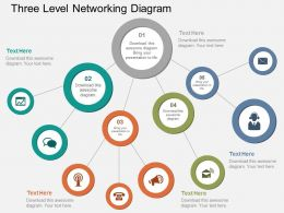 Ht Three Level Networking Diagram Flat Powerpoint Design