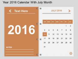 Ht Year 2016 Calendar With July Month Flat Powerpoint Design