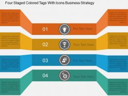 hu Four Staged Colored Tags With Icons Business Strategy Flat Powerpoint Design