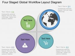 Hu Four Staged Global Workflow Layout Diagram Flat Powerpoint Design