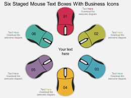 hu Six Staged Mouse Text Boxes With Business Icons Flat Powerpoint Design