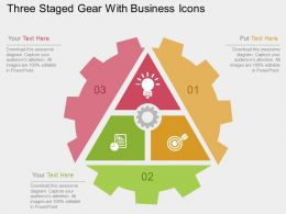 Hu Three Staged Gear With Business Icons Flat Powerpoint Design