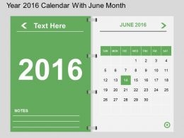 Hu Year 2016 Calendar With June Month Flat Powerpoint Design