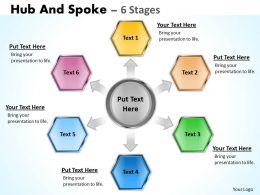 22317529 Style Circular Hub-Spoke 6 Piece Powerpoint Template Diagram Graphic Slide
